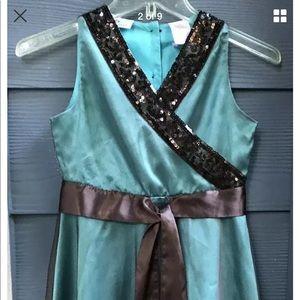 Beri Blue Girl Dress Sz 10 Green Brown Tull Mesh